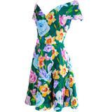 Arnold Scassi Vintage Dress Off Shoulder Floral Organza over Green silk