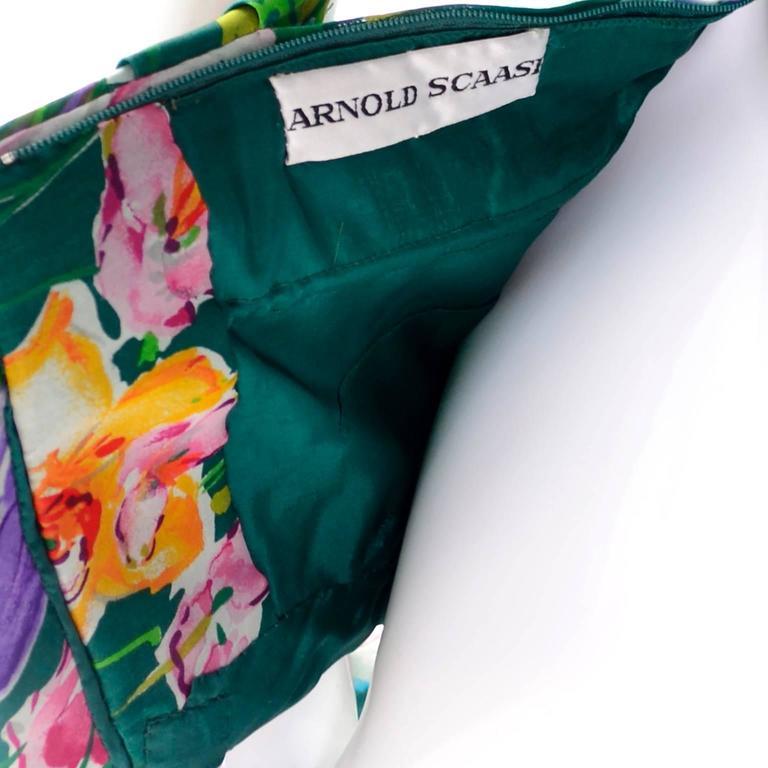 Arnold Scassi Vintage Dress Off Shoulder Floral Organza over Green silk  For Sale 1