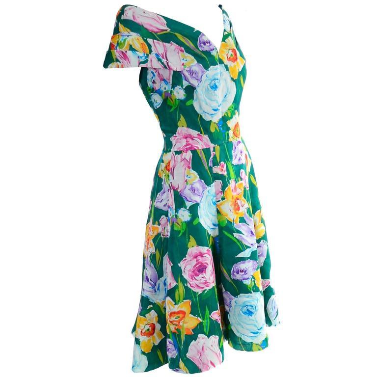 Women's Arnold Scassi Vintage Dress Off Shoulder Floral Organza over Green silk  For Sale