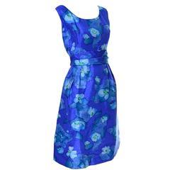 Miss Bergdorf Goodman Betty Clyne Custom Originals Vintage Blue Dress 1960s