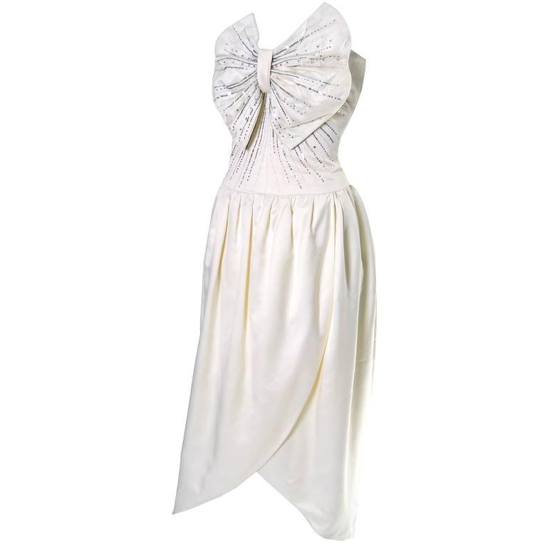 Nina Ricci Haute Boutique Paris Vintage Ivory Satin Beaded Dress With Bow