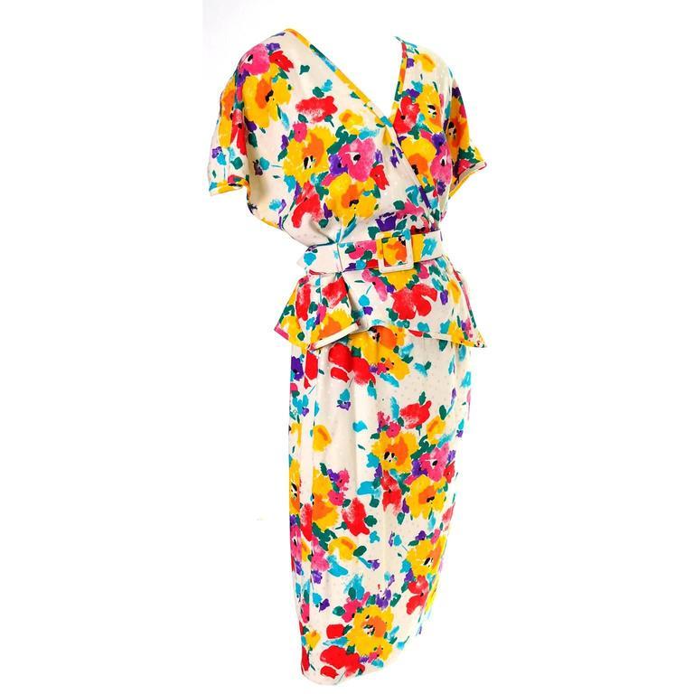 Vintage Ungaro Parellele Floral 2 Pc SIlk Dress & Skirt Jacket 1980s Garfinckels
