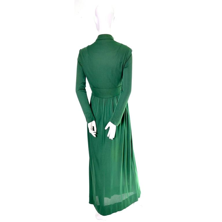 Rodrigues 1970s Vintage Green SIlk Jersey Dress Maxi 6/8 For Sale 1