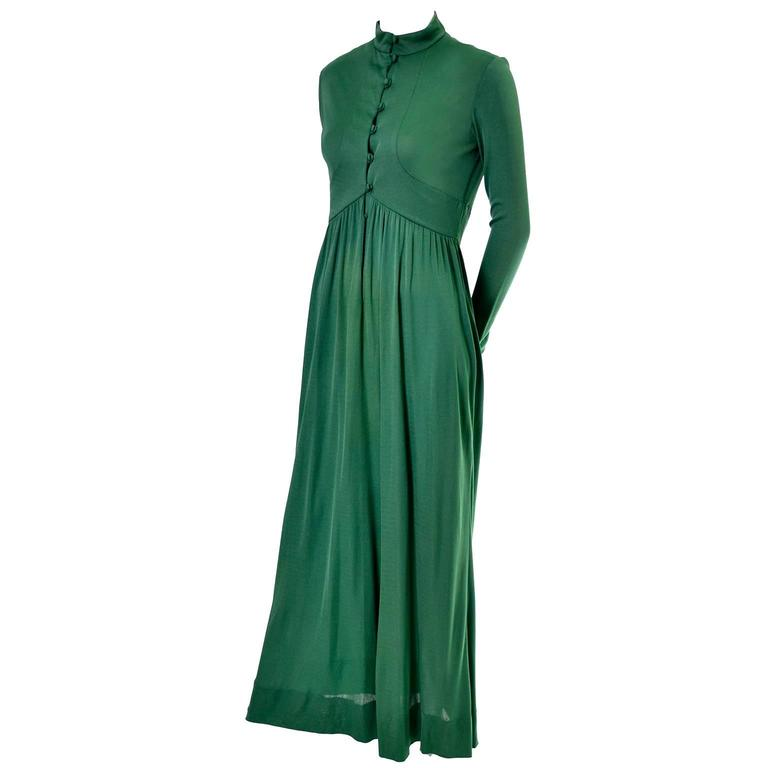 Rodrigues 1970s Vintage Green SIlk Jersey Dress Maxi 6/8 In Excellent Condition For Sale In Portland, OR