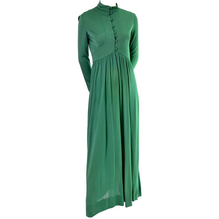 Rodrigues 1970s Vintage Green SIlk Jersey Dress Maxi 6/8 For Sale