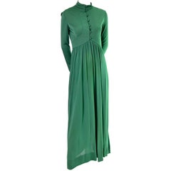 Rodrigues 1970s Vintage Green SIlk Jersey Dress Maxi 6/8