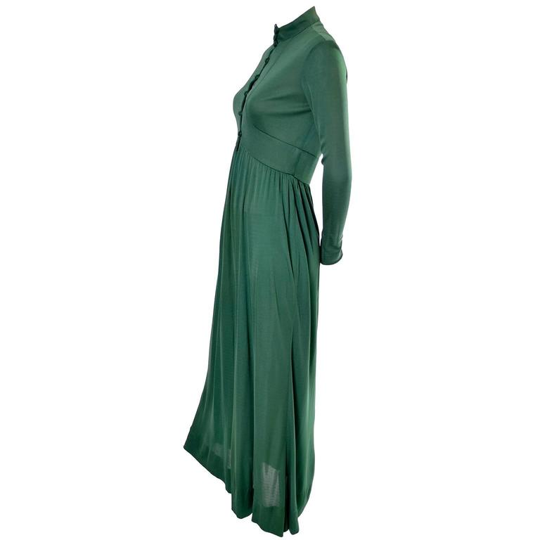 Women's Rodrigues 1970s Vintage Green SIlk Jersey Dress Maxi 6/8 For Sale