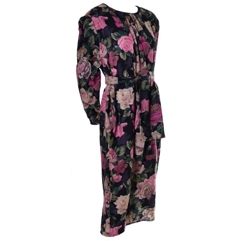 1980s Emanuel Ungaro Ter Vintage Floral Dress 46/12 Sash Scarf For Sale