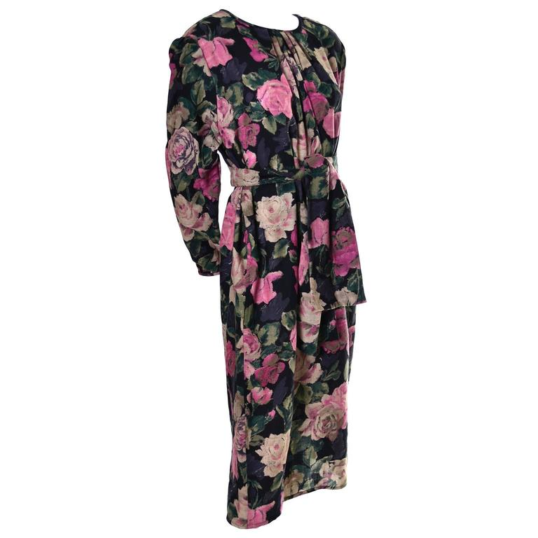 1980s Emanuel Ungaro Ter Vintage Floral Dress 46/12 Sash Scarf In Excellent Condition For Sale In Portland, OR