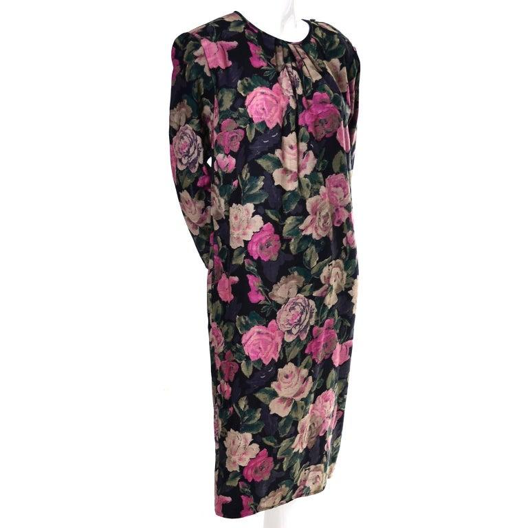 Black 1980s Emanuel Ungaro Vintage Floral Dress 46/12 Sash Scarf For Sale