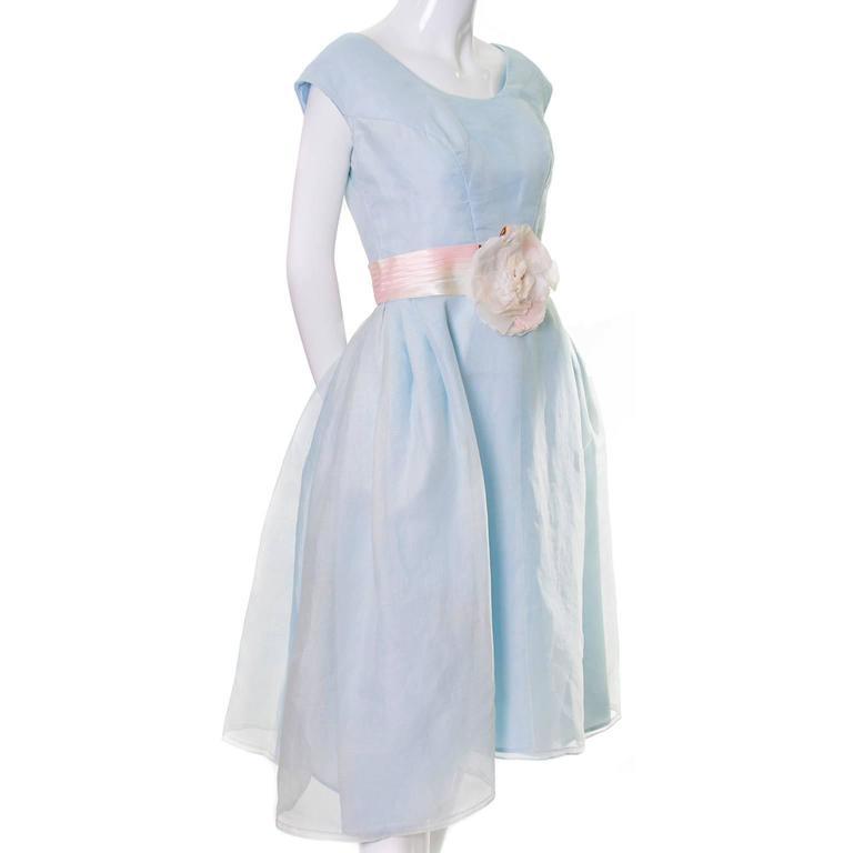 Priscilla of Boston Vintage Dress Blue Organza Ombre Sash Flower  3