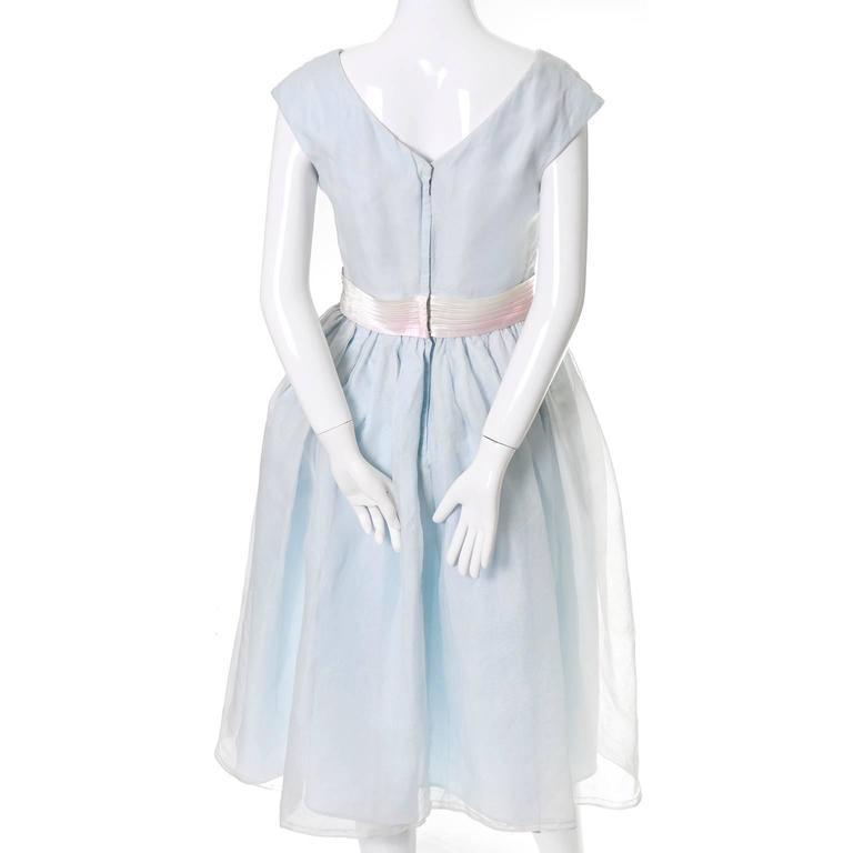 Priscilla of Boston Vintage Dress Blue Organza Ombre Sash Flower  5