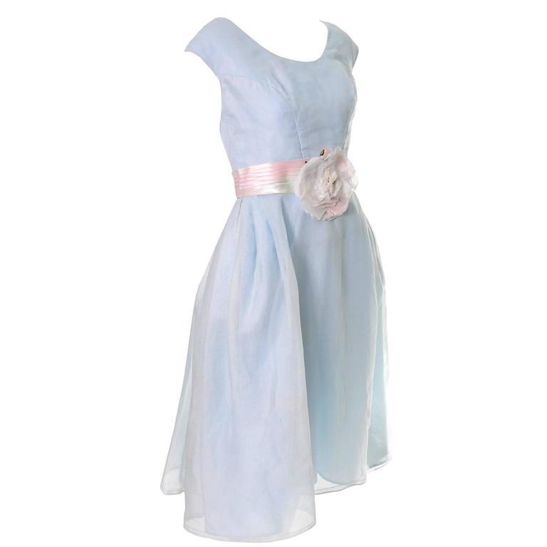 Priscilla of Boston Vintage Dress Blue Organza Ombre Sash Flower  1