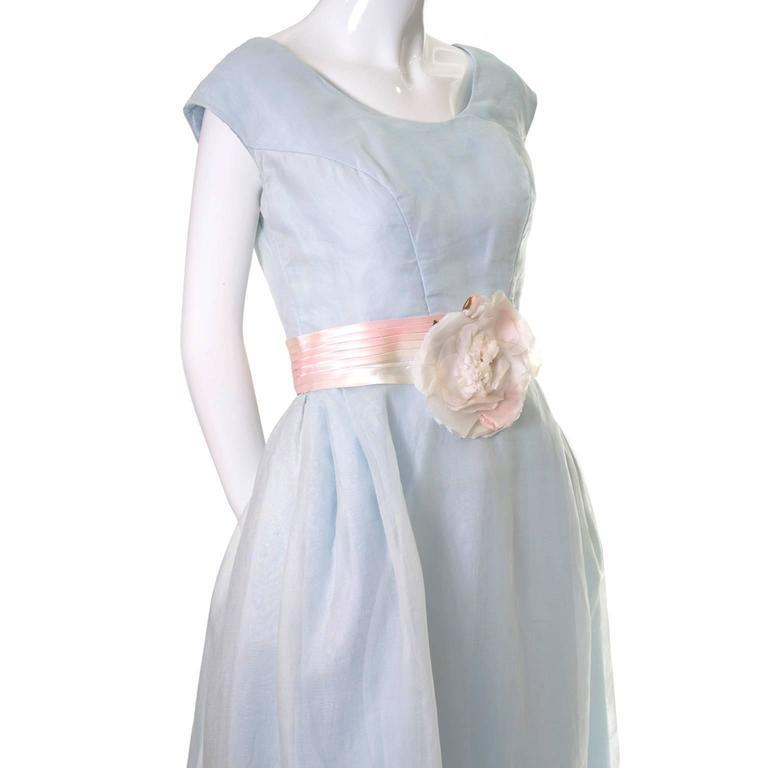 Priscilla of Boston Vintage Dress Blue Organza Ombre Sash Flower  4