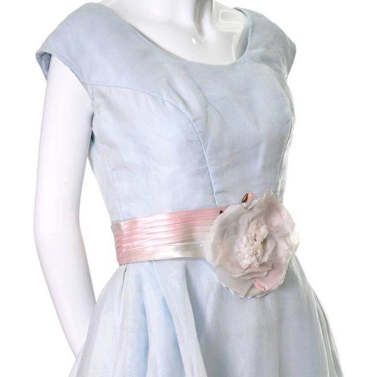 Priscilla of Boston Vintage Dress Blue Organza Ombre Sash Flower  2