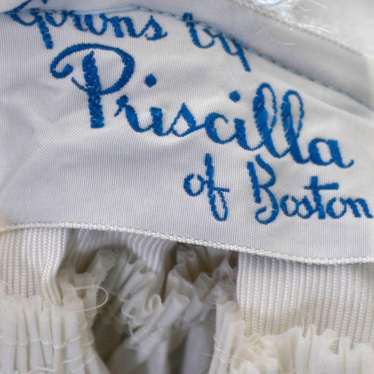 Priscilla of Boston Vintage Dress Blue Organza Ombre Sash Flower  6