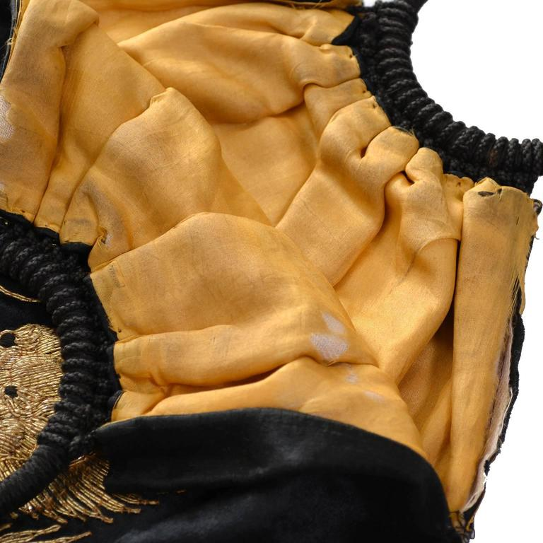 Rare Chinese Embroidery Gold Metallic Dragon Black Silk Handbag Purse tassels 4