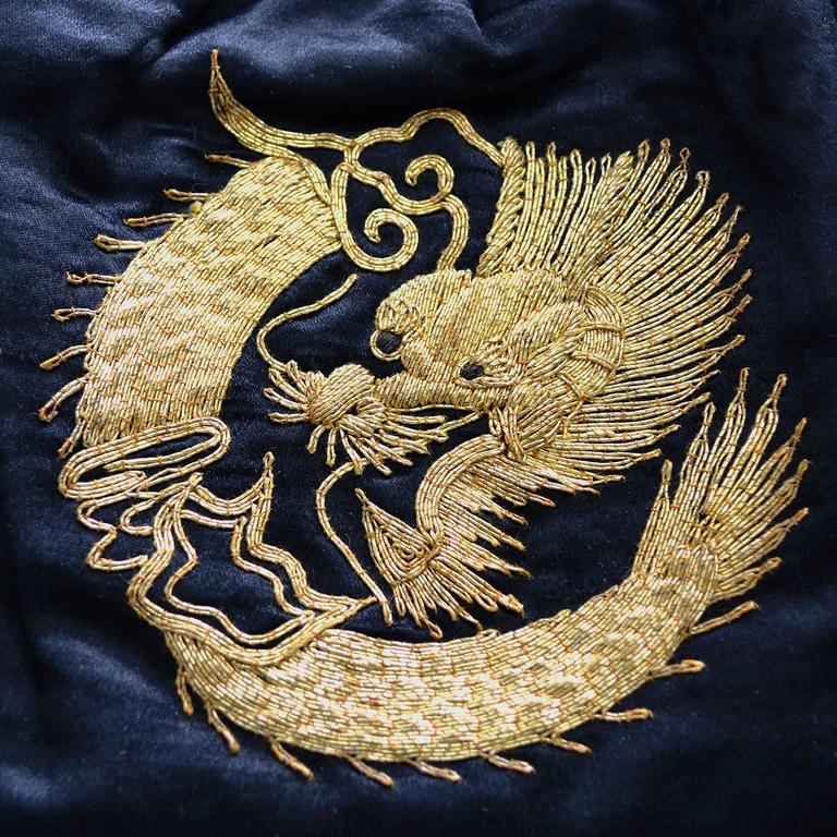 Rare Chinese Embroidery Gold Metallic Dragon Black Silk Handbag Purse tassels 3