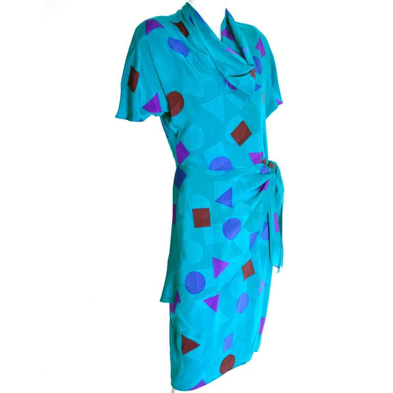 Flora Kung Abstract Teal Blue Silk Vintage Dress 1980s Size 6