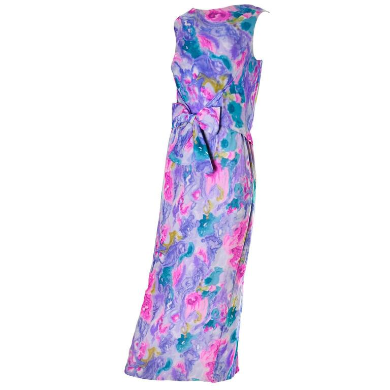 Vintage I Magnin Vintage Dress in Silk Chiffon Watercolor Print Evening Gown 4/6 For Sale 1