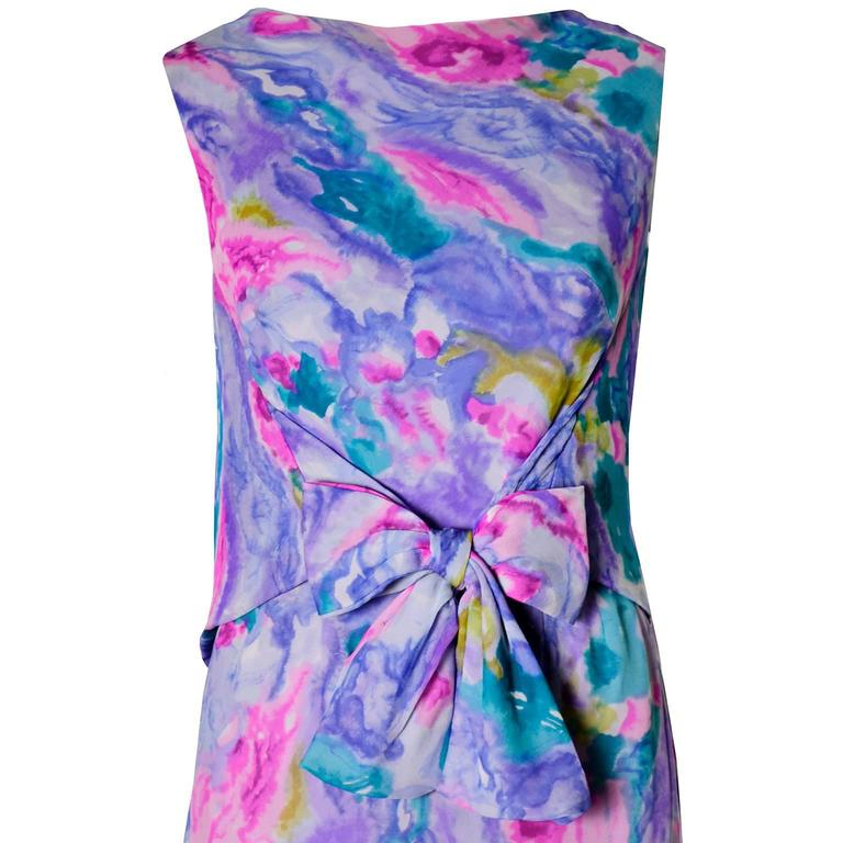 Women's Vintage I Magnin Vintage Dress in Silk Chiffon Watercolor Print Evening Gown 4/6 For Sale