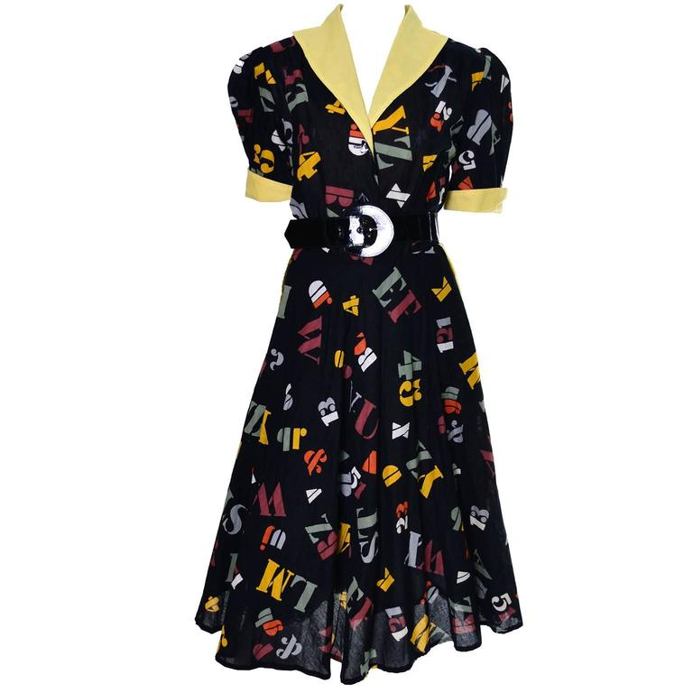 1950s German Vintage Dress Novelty Print Fall Back To School Alphabet For