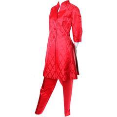 1960s Vintage Chinese Red Silk Satin Hostess Pajamas Evening Pant Suit Ensemble