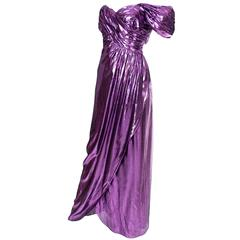 1980s Victor Costa Vintage Dress Evening Gown Purple Lame Rare 8/10