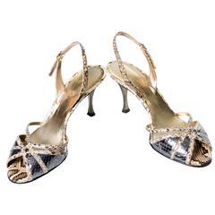 Dolce & Gabbana Python Snakeskin Shoes 36.5 Slingback