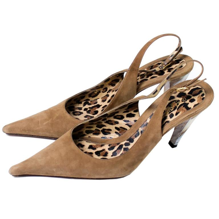 Brown Dolce Gabbana Suede Shoes With Pointed Toe & Marbled Heels in Size 39 For Sale