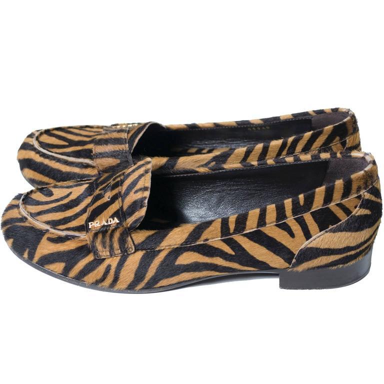 Black Prada Pony Fur Zebra Loafers Animal Print Shoes 37.5 For Sale