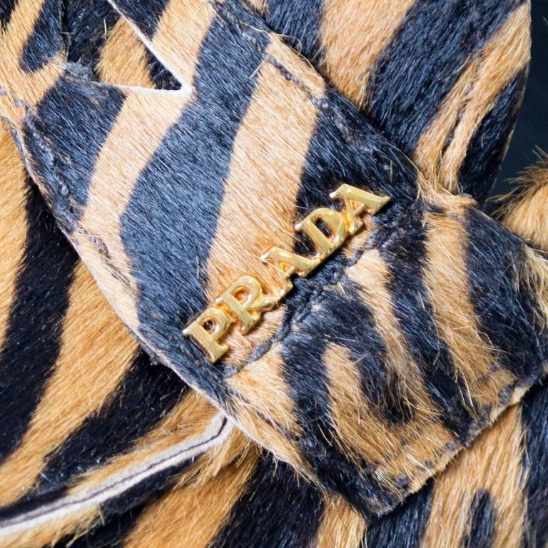 Women's Prada Pony Fur Zebra Loafers Animal Print Shoes 37.5 For Sale