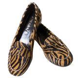 Prada Pony Fur Zebra Loafers Animal Print Shoes 37.5