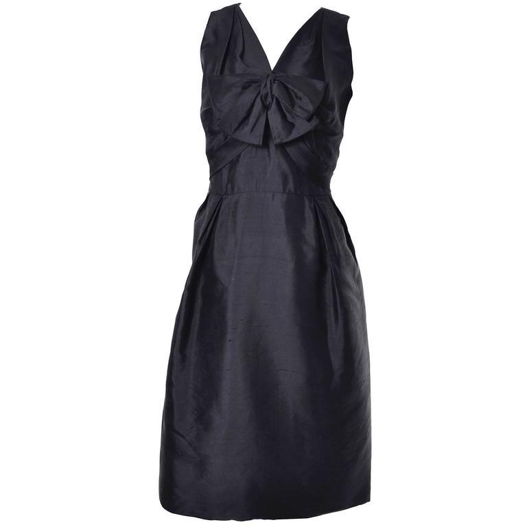 Vintage Little Black Cocktail Dress Adele Simpson Silk Bow  For Sale 1