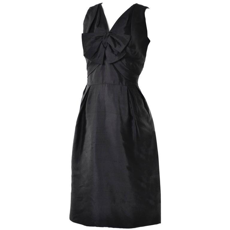 Vintage Little Black Cocktail Dress Adele Simpson Silk Bow  For Sale 3