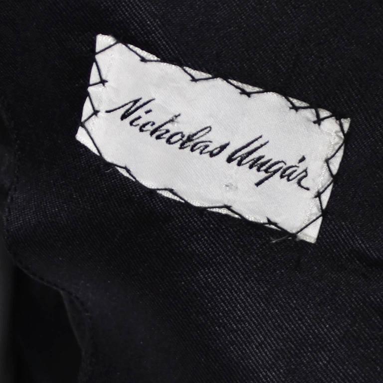 Vintage Little Black Cocktail Dress Adele Simpson Silk Bow  For Sale 5