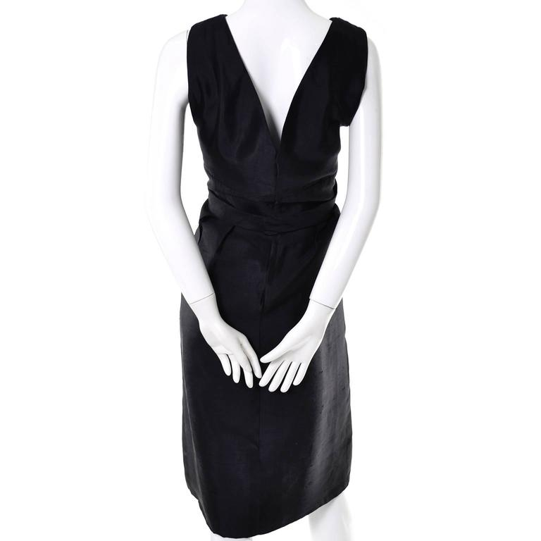 Vintage Little Black Cocktail Dress Adele Simpson Silk Bow  For Sale 2