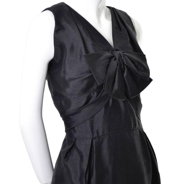 Women's Vintage Little Black Cocktail Dress Adele Simpson Silk Bow  For Sale