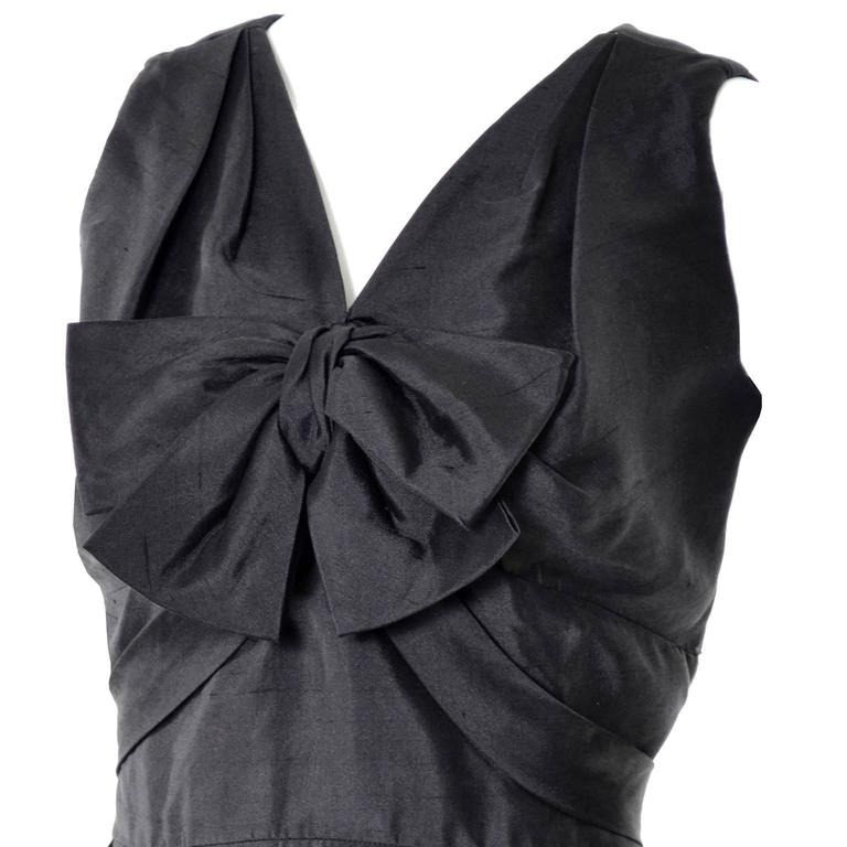 Vintage Little Black Cocktail Dress Adele Simpson Silk Bow  In Excellent Condition For Sale In Portland, OR