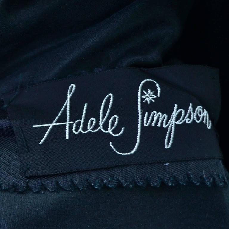 Vintage Little Black Cocktail Dress Adele Simpson Silk Bow  For Sale 4