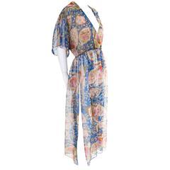 Romantic Sheer 1970s Albert Capraro Vintage Dress Side Slits