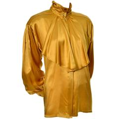 Gold Silk Vintage Escada Blouse With Jabot & Bishop Sleeves Size 36