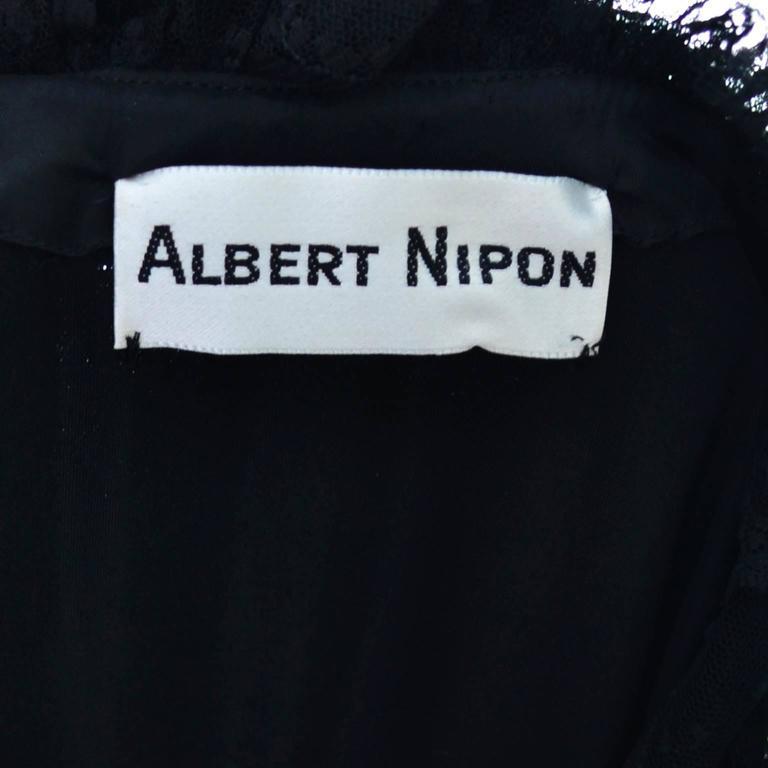 Albert Nipon Vintage Black Velvet Lace Dress 1970s Victorian Renaissance 12 For Sale 5