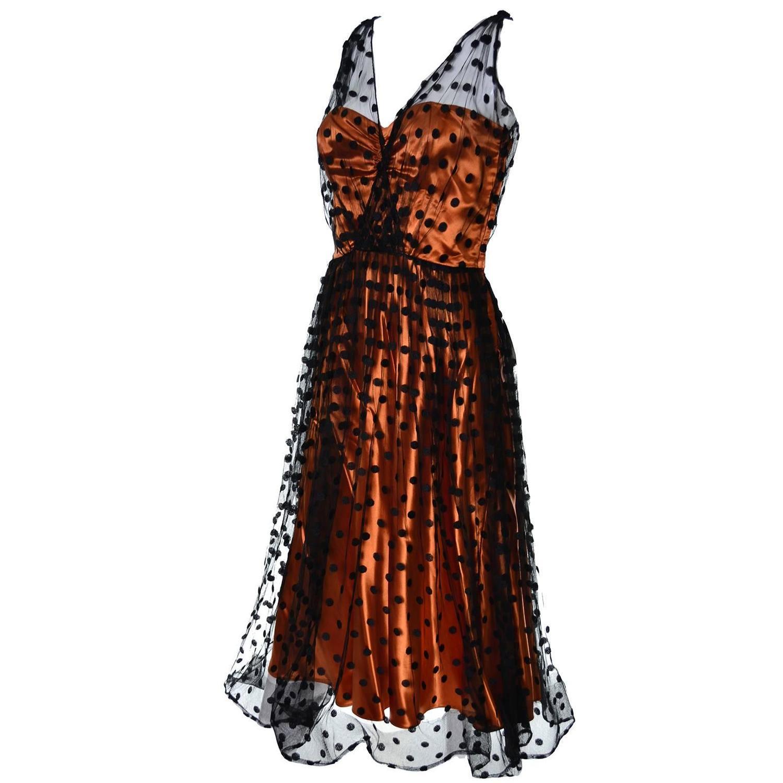1950s Ceil Chapman Vintage Orange Black Dot Tulle Satin