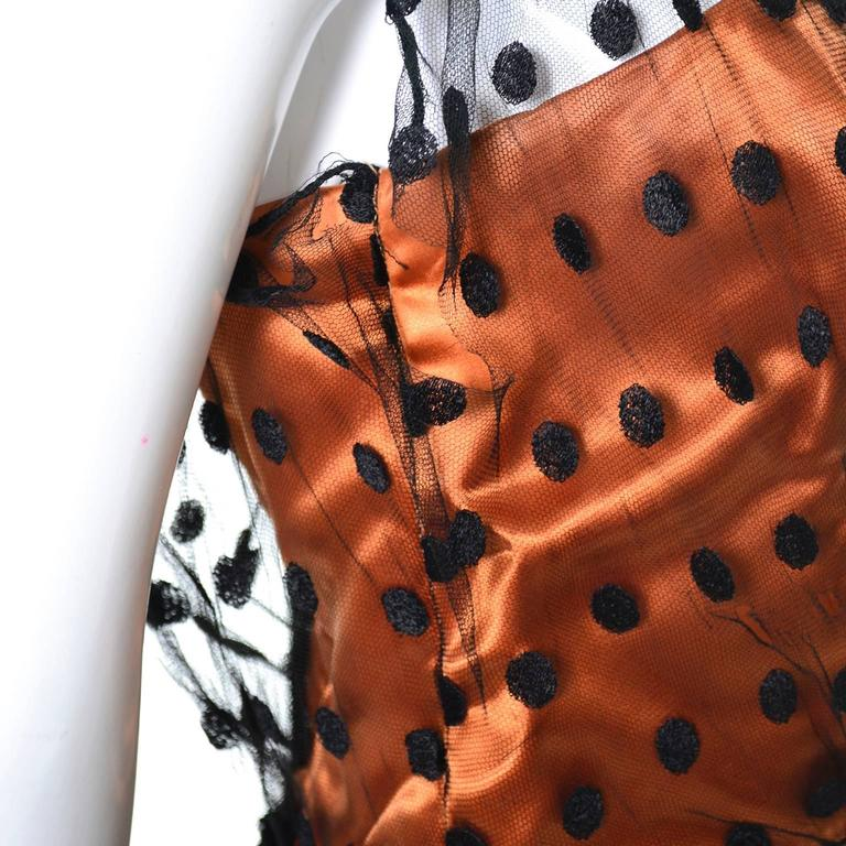 1950s Ceil Chapman Vintage Orange Black Dot Tulle Satin Dress Elegant Halloween 9