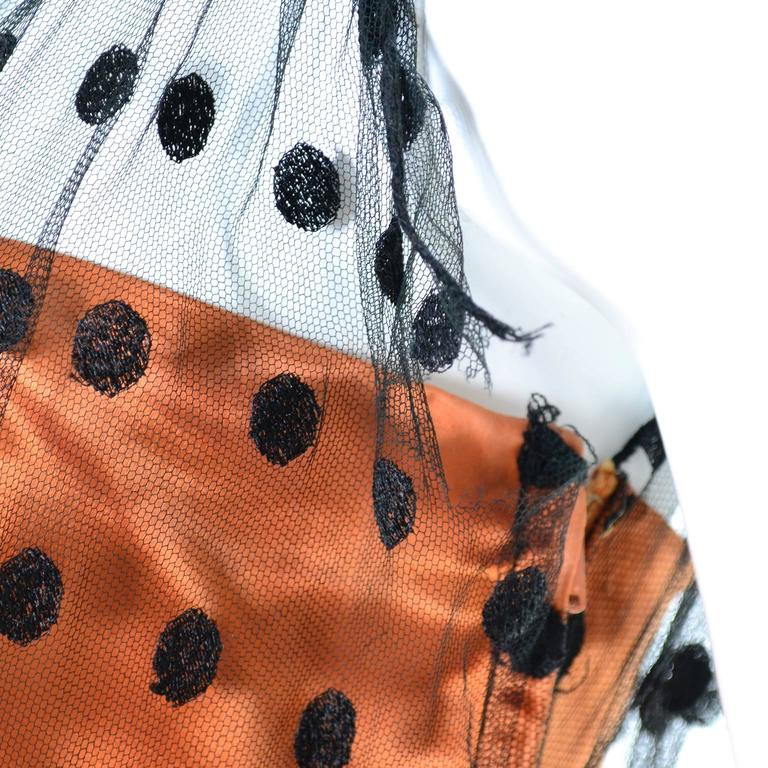 1950s Ceil Chapman Vintage Orange Black Dot Tulle Satin Dress Elegant Halloween 8