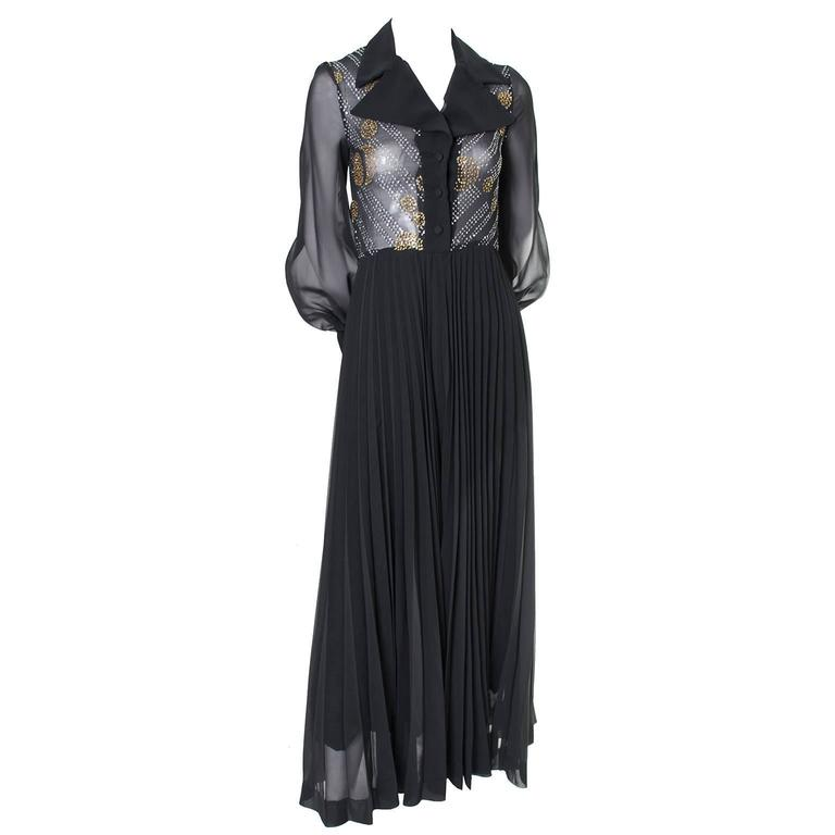 1970s Vintage Dress Black Maxi Silver Gold Sparkle Sheer Bodice Halloween 2