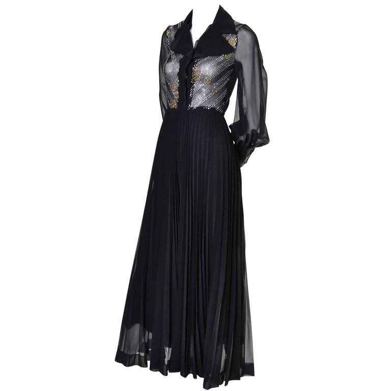 1970s Vintage Dress Black Maxi Silver Gold Sparkle Sheer Bodice Halloween 4