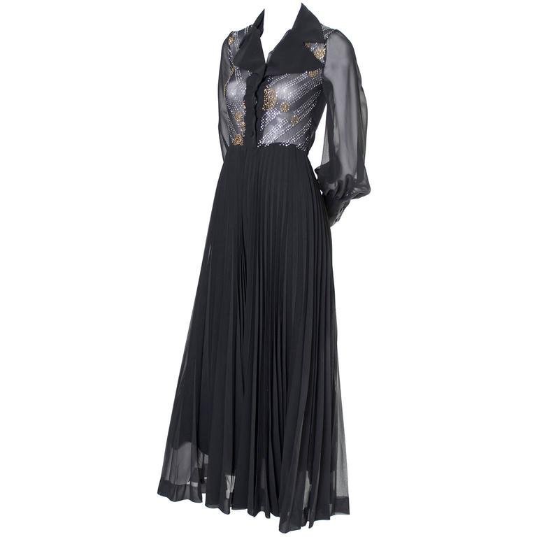 1970s Vintage Dress Black Maxi Silver Gold Sparkle Sheer Bodice Halloween 1