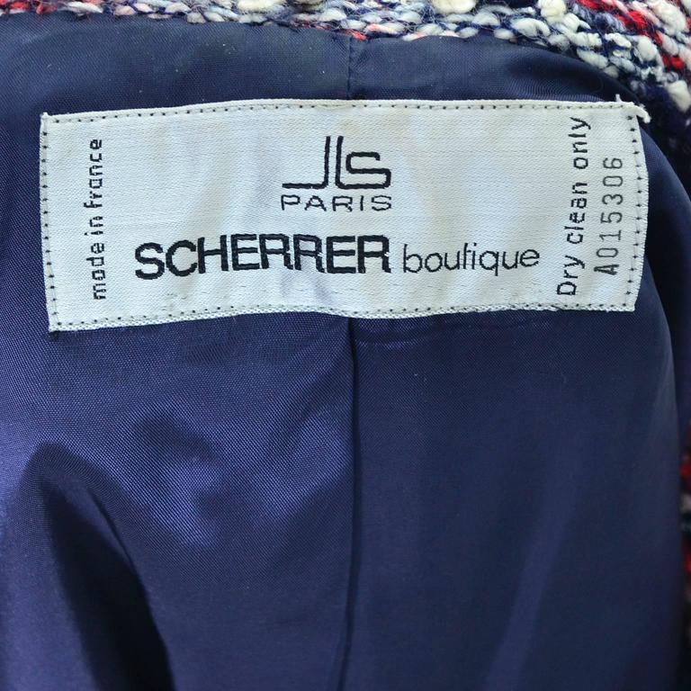 1970s Jean Louis Scherrer Numbered Boutique Vintage Tweed Jacket With Belt For Sale 1
